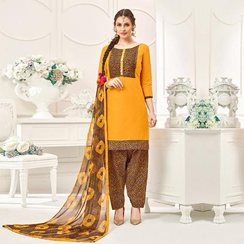 Yellow Casual Printed Cotton Slub Salwar Suit