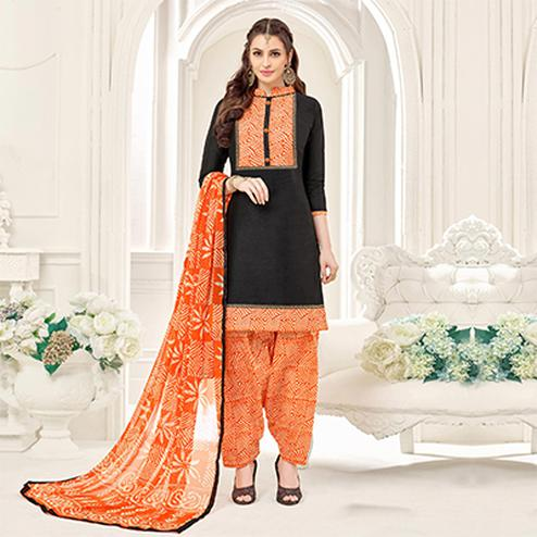 Black Casual Printed Cotton Slub Salwar Suit