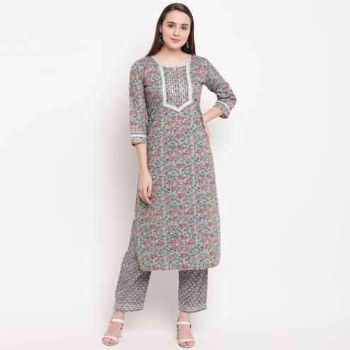 Vbuyz Women's - Grey Colored Casual Printed Cotton Straight Kurti Pant Set