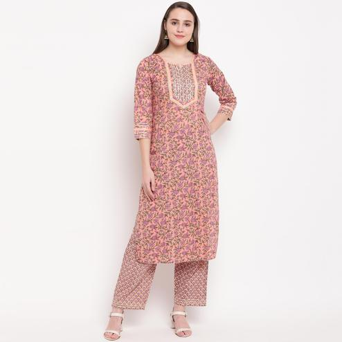 Vbuyz Women's - Peach Colored Casual Printed Cotton Straight Kurti Pant Set
