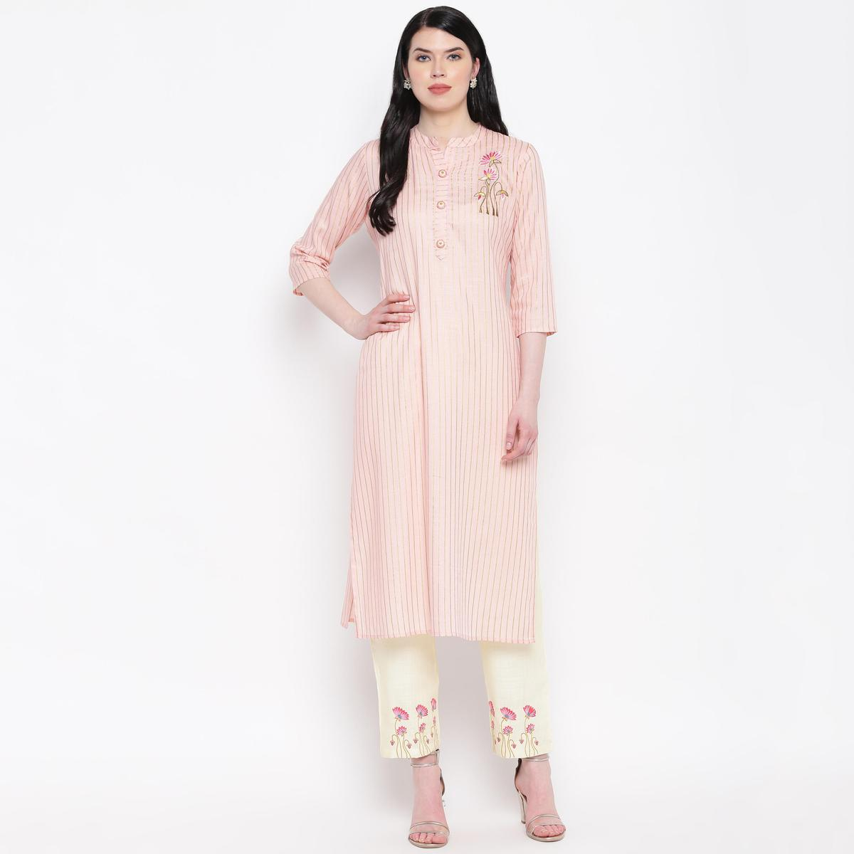 Vbuyz Women's - Peach Colored Casual Embroidered Rayon Straight Kurti Pant Set