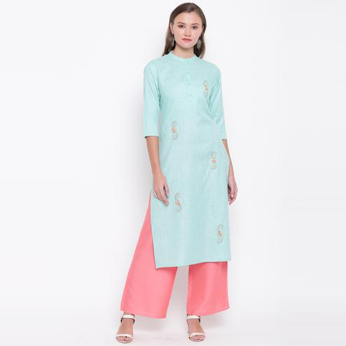 Vbuyz Women's - Sky Blue Colored Casual Embroidered/Solid Cotton Straight Kurti Palazzo Set