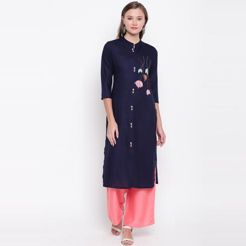 Vbuyz Women's - Navy Blue Colored Casual Embroidered/Solid Rayon Straight Kurti Palazzo Set