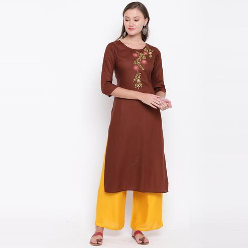 Vbuyz Women's - Brown Colored Casual Embroidered/Solid Rayon Straight Kurti Palazzo Set
