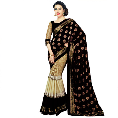 Black - Cream Georgette Half Saree