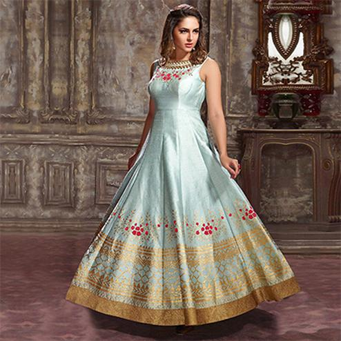 Charming Sky Blue Designer Partywear Hand Embroidered Banglori Silk Gown
