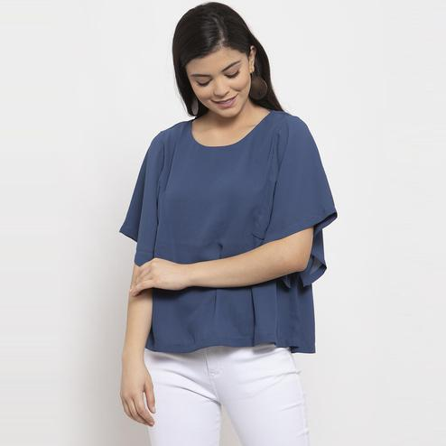 Label Regalia - Blue Colored Casual Solid Polyester Top