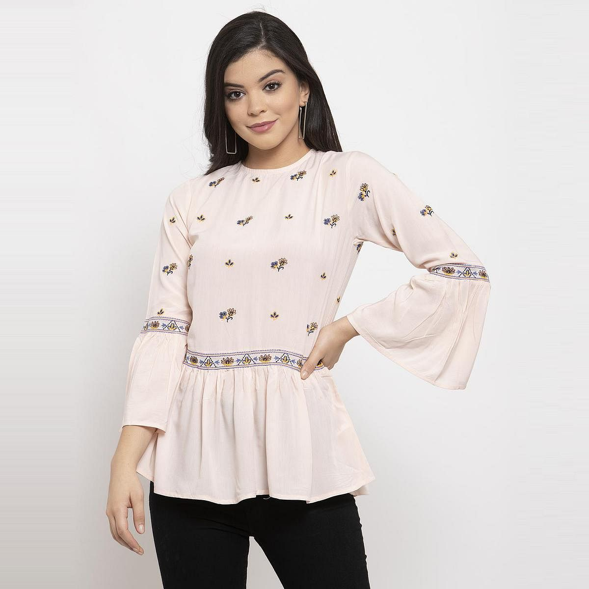 Label Regalia - Light Pink Colored Casual Embroidered Polyester Top