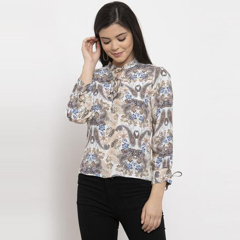 Label Regalia - Brown Colored Casual Printed Polyester Top