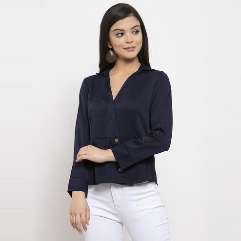 Label Regalia - Navy Blue Colored Casual Shirt Style Polyester Top
