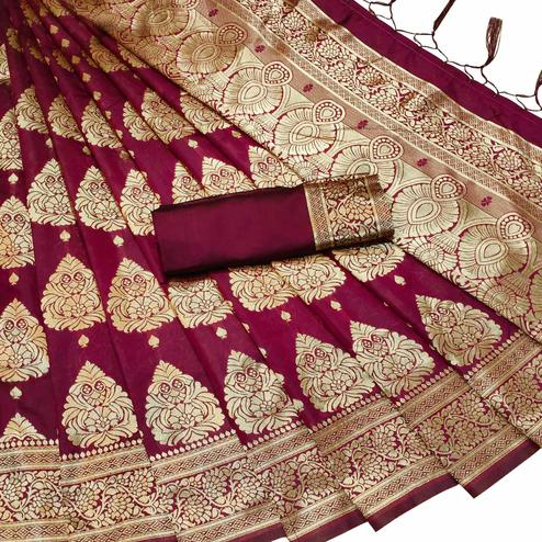 Groovy Maroon Colored Festive Wear Woven Banarasi Silk Saree With Tassels