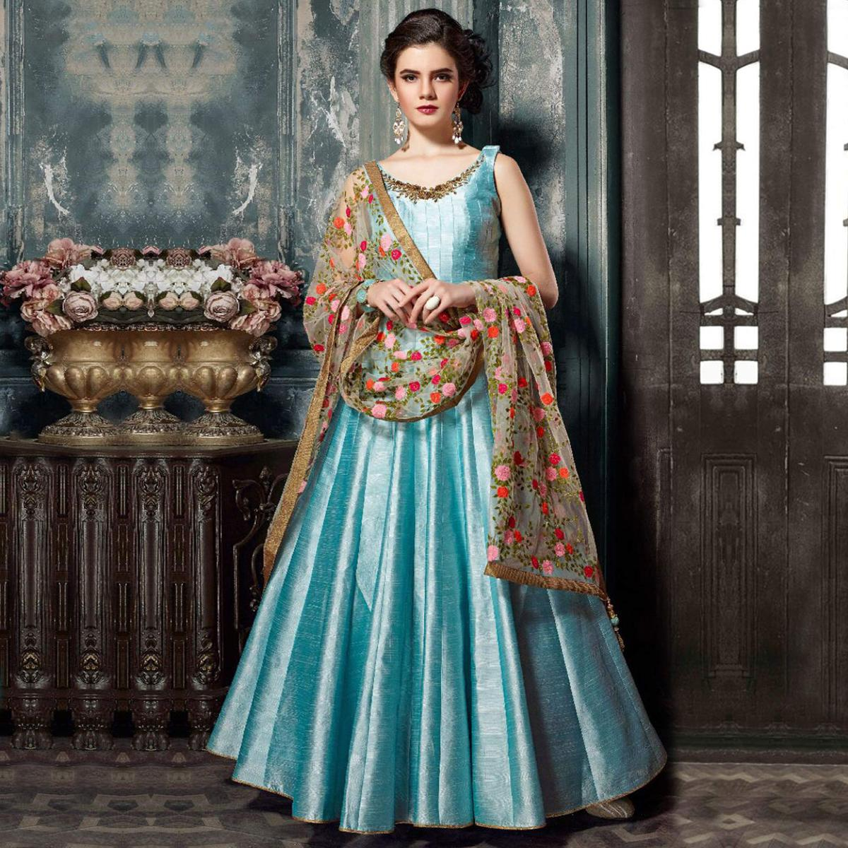 Buy Ravishing Blue Designer Partywear Hand Embroidered Banglori Silk ...