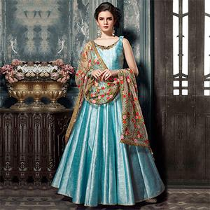 Ravishing Blue Designer Partywear Hand Embroidered Banglori Silk Gown