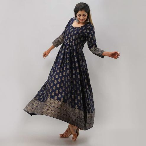 Zyla - Navy Blue Colored Casual kairi printed Rayon anarkali Kurti