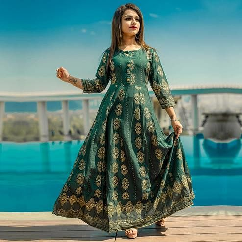 Zyla - Green Colored Casual Printed Rayon Anarkali Kurti