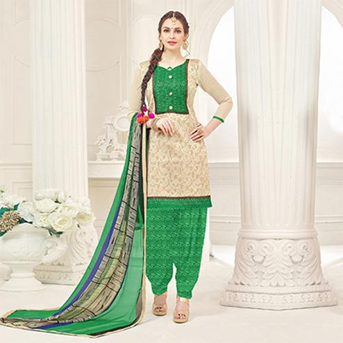 Beige-Green Casual Printed Cotton Slub Salwar Suit