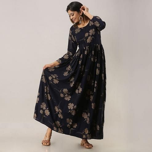 Zyla - Blue Colored Casual Printed Rayon Anarkali Kurti