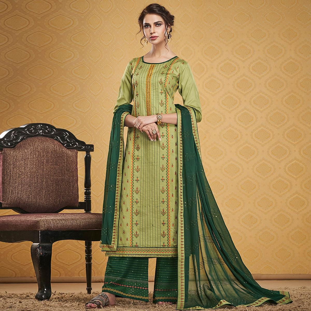 Adorable Light Green Colored Designer Partywear Embroidered Jam Silk Palazzo Suit