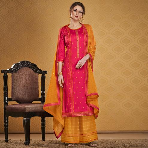 Beautiful Pink Colored Designer Partywear Embroidered Jam Silk Palazzo Suit