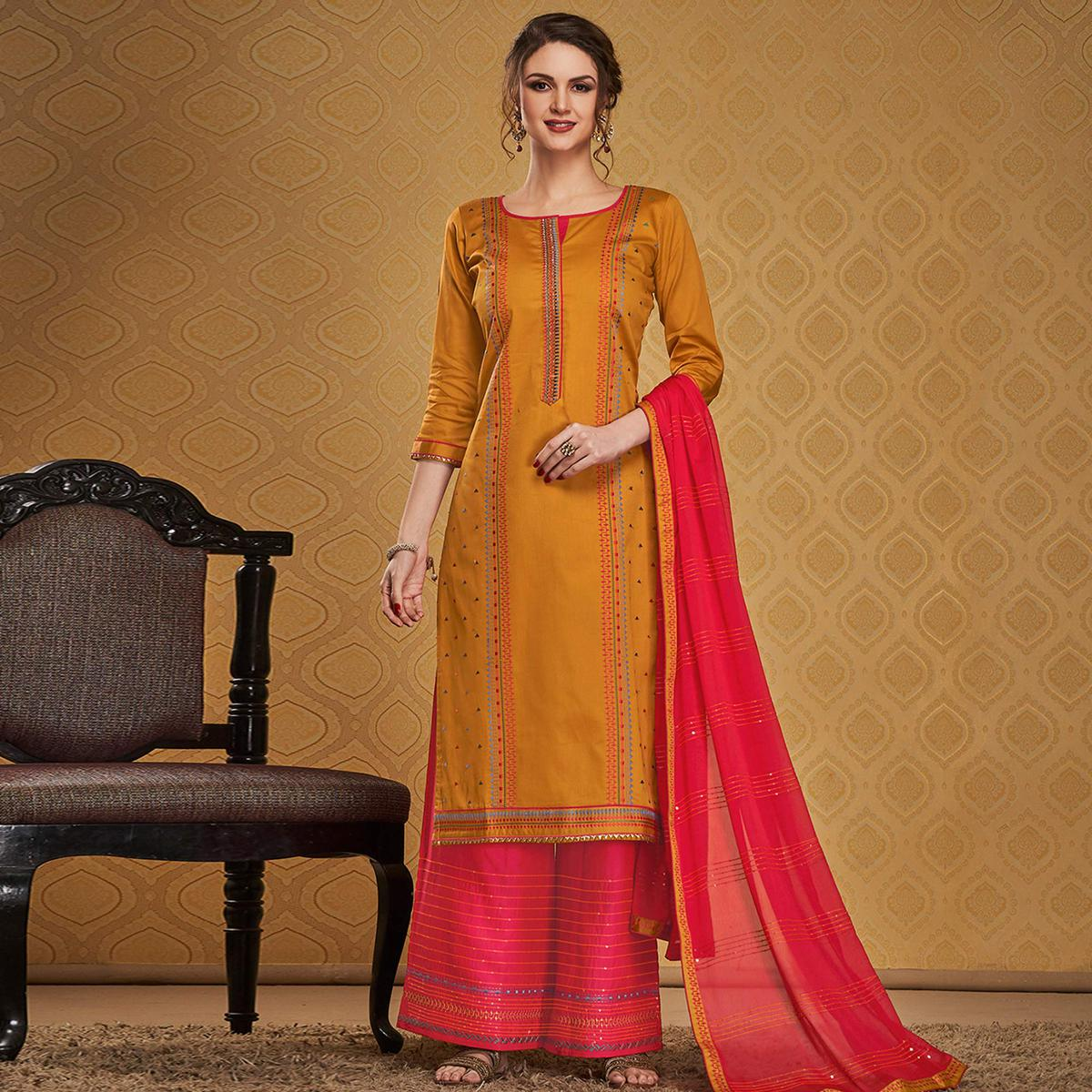 Graceful Mustard Colored Designer Partywear Embroidered Jam Silk Palazzo Suit