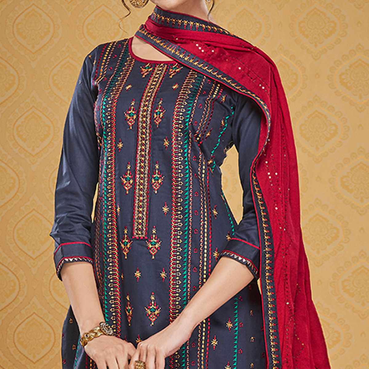 Blooming Blue Colored Designer Partywear Embroidered Jam Silk Palazzo Suit