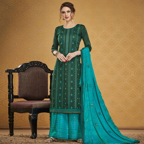 Charming Green Colored Designer Partywear Embroidered Jam Silk Palazzo Suit