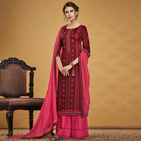 Jazzy Maroon Colored Designer Partywear Embroidered Jam Silk Palazzo Suit