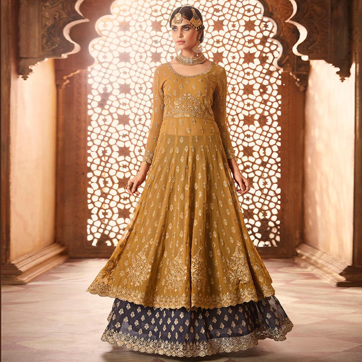 Eye-catching Yellow Colored Designer Partywear Embroidered Georgette Anarkali Suit