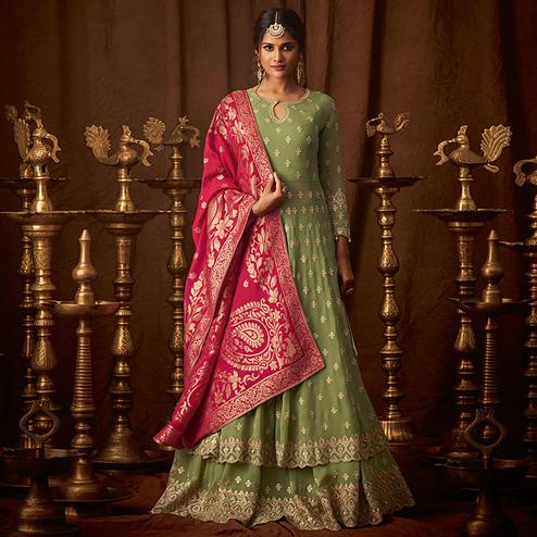 Amazing Pista Green Colored Designer Partywear Embroidered Georgette Anarkali Suit