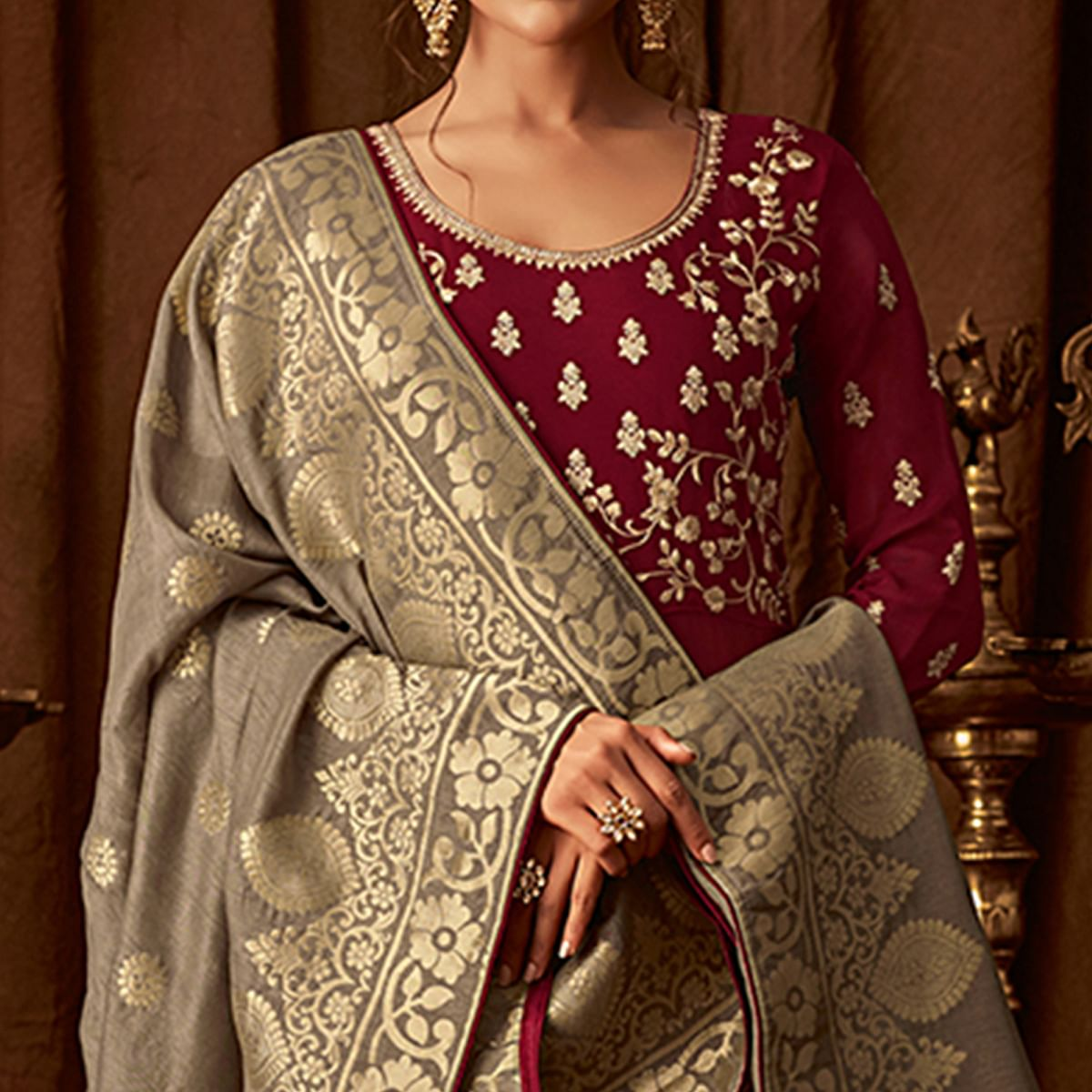 Gorgeous Maroon Colored Designer Partywear Embroidered Georgette Anarkali Suit
