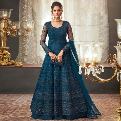 Ideal Rama Colored Designer Partywear Embroidered Net Anarkali Suit