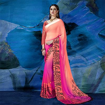 Lovely Peach-Pink Designer Printed Georgette Saree