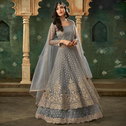 Imposing Grey Colored Designer Partywear Embroidered Net Anarkali Suit