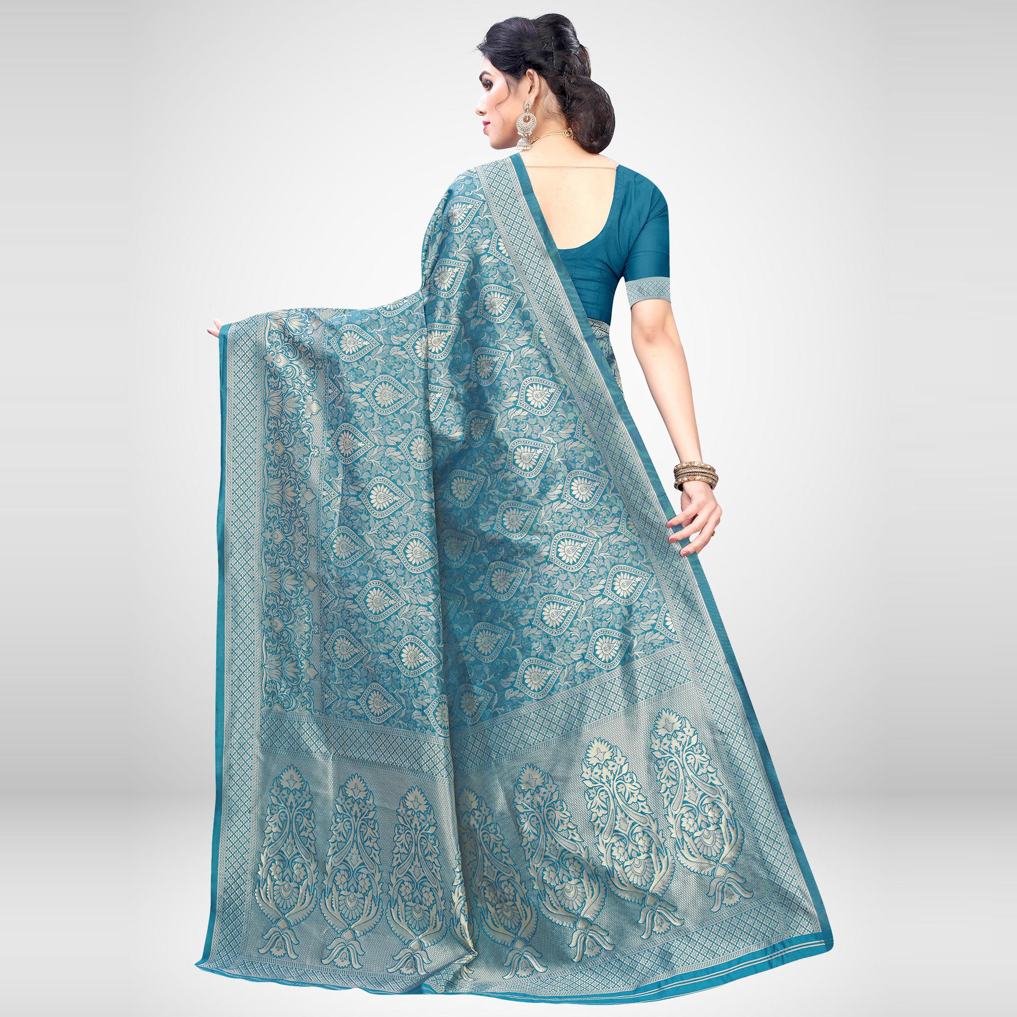 Mesmerising Teal Blue Colored Festive Wear Woven Silk Blend Saree