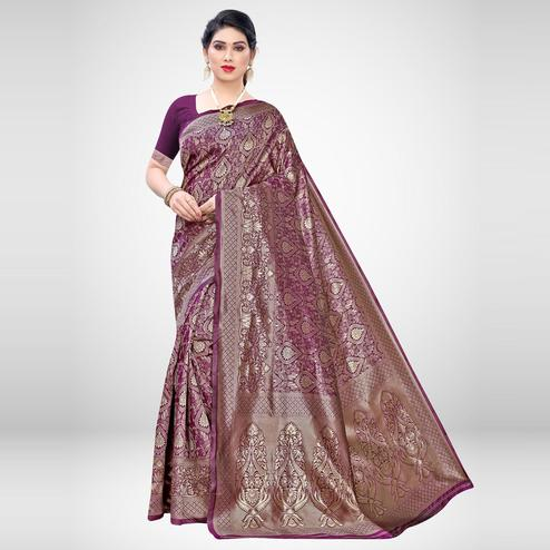 Breathtaking Wine Colored Festive Wear Woven Silk Blend Saree