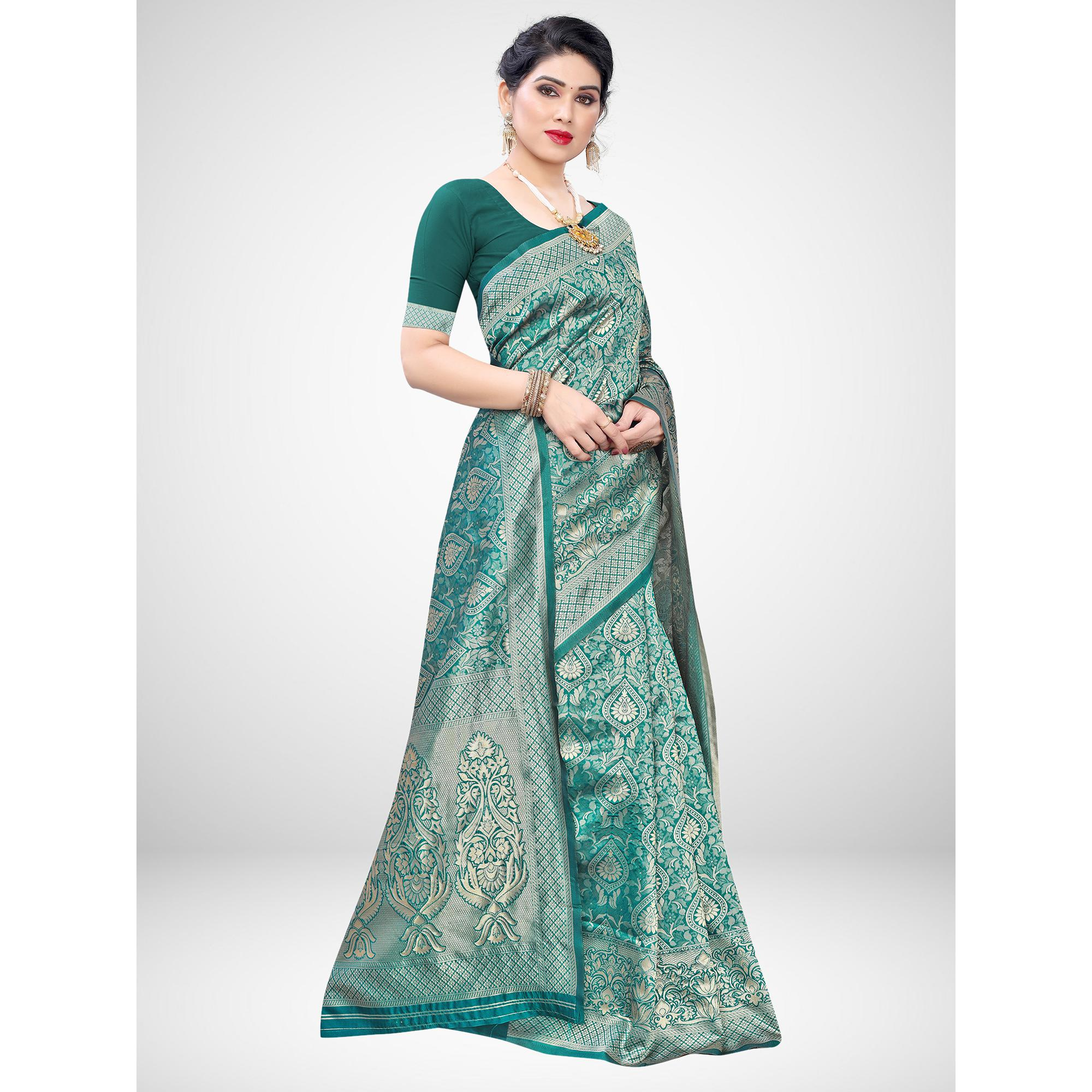 Ethnic Teal Green Colored Festive Wear Woven Silk Blend Saree