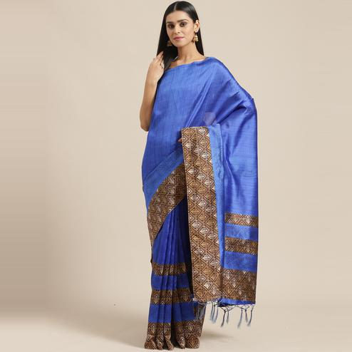 Ravishing Blue Colored Casual Wear Printed Lichi Silk Saree
