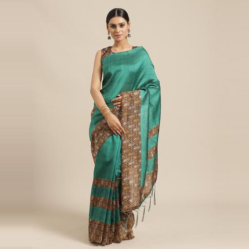 Staring Green Colored Casual Wear Printed Lichi Silk Saree