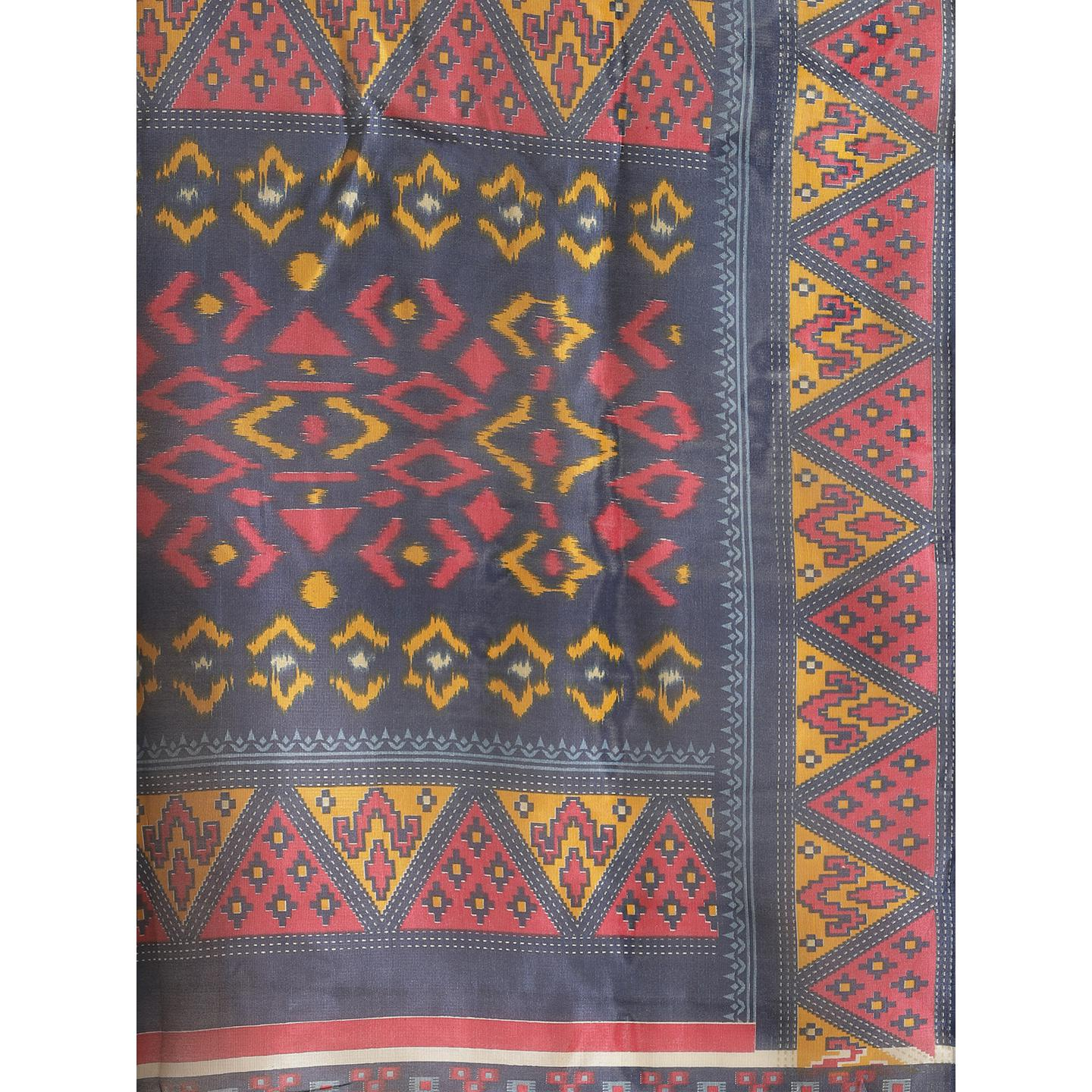 Flattering Navy Blue Colored Casual Wear Printed Lichi Silk Saree