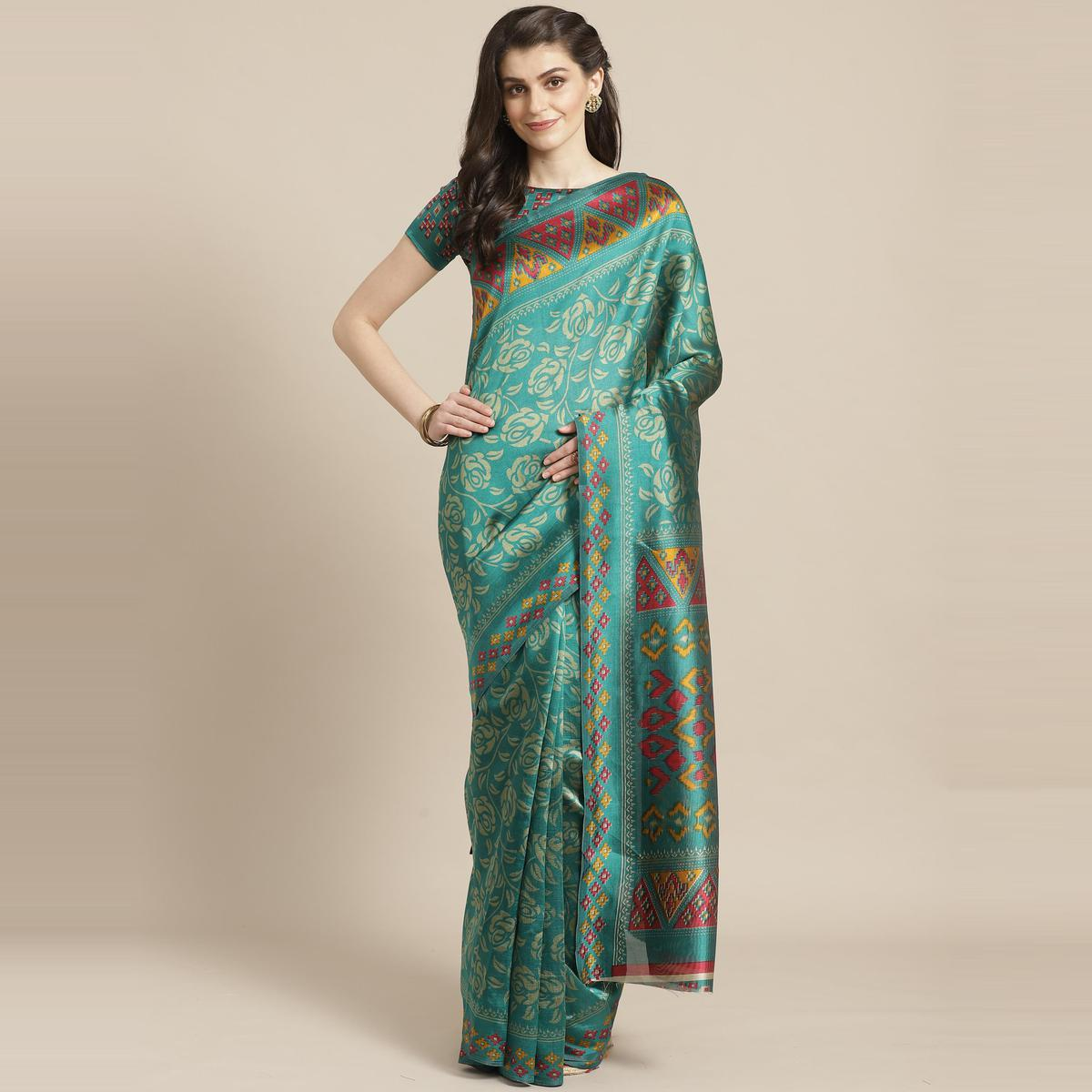 Excellent Green Colored Casual Wear Printed Lichi Silk Saree