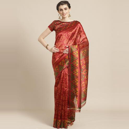 Preferable Red Colored Casual Wear Printed Lichi Silk Saree