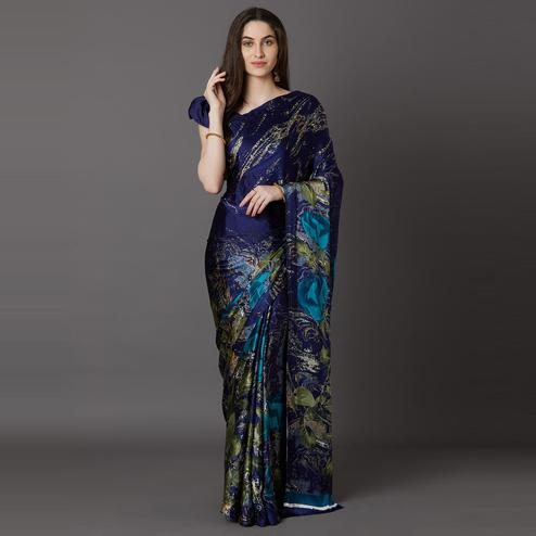 Pretty Blue Colored Festive Wear Printed Crepe Saree