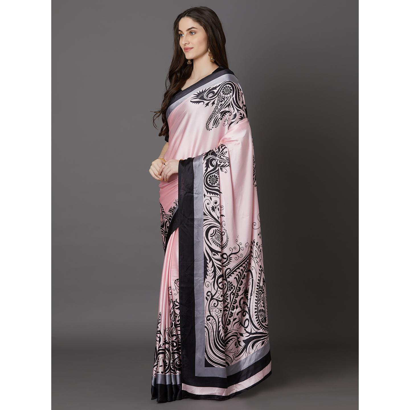 Alluring Pink Colored Festive Wear Printed Crepe Saree