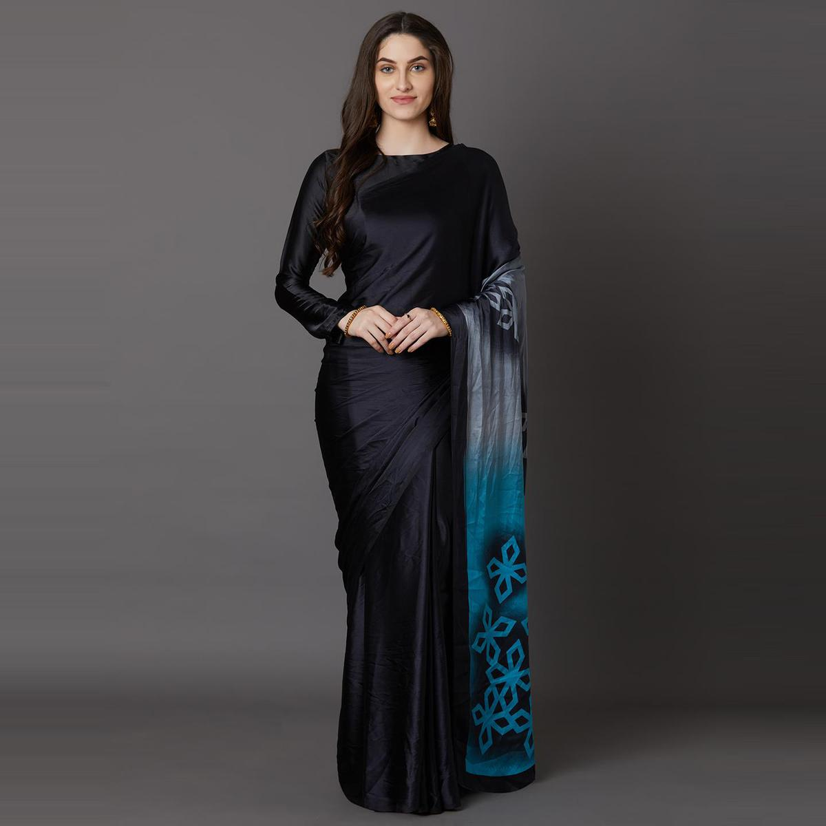 Sensational Black - Blue Colored Festive Wear Printed Crepe Saree