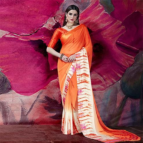 Sizzling Orange Designer Printed Georgette Saree