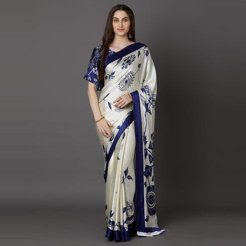 Flaunt Offwhite - Blue Colored Festive Wear Printed Crepe Saree