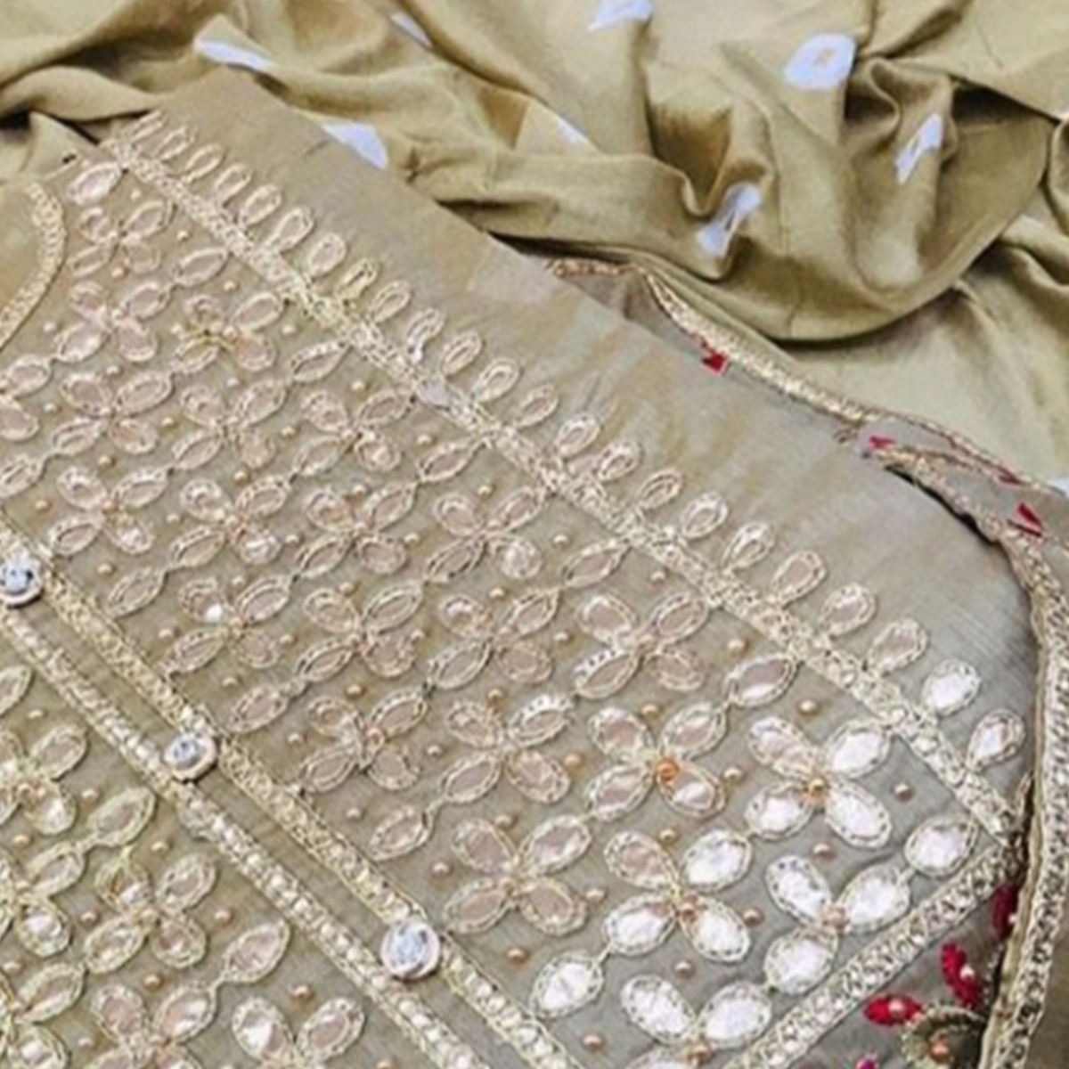Capricious Beige Colored Partywear Floral Embroidered Gotta Patti Work Chanderi Cotton Dress Material