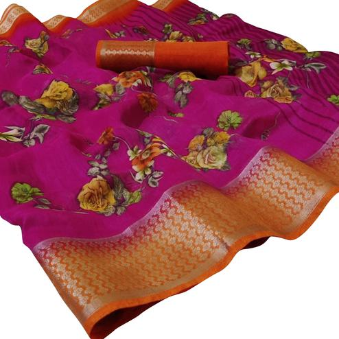 Trendy Pink Colored Casual Wear Floral Printed Linen Saree