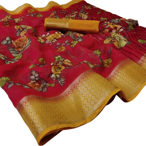 Elegant Red Colored Casual Wear Floral Printed Linen Saree