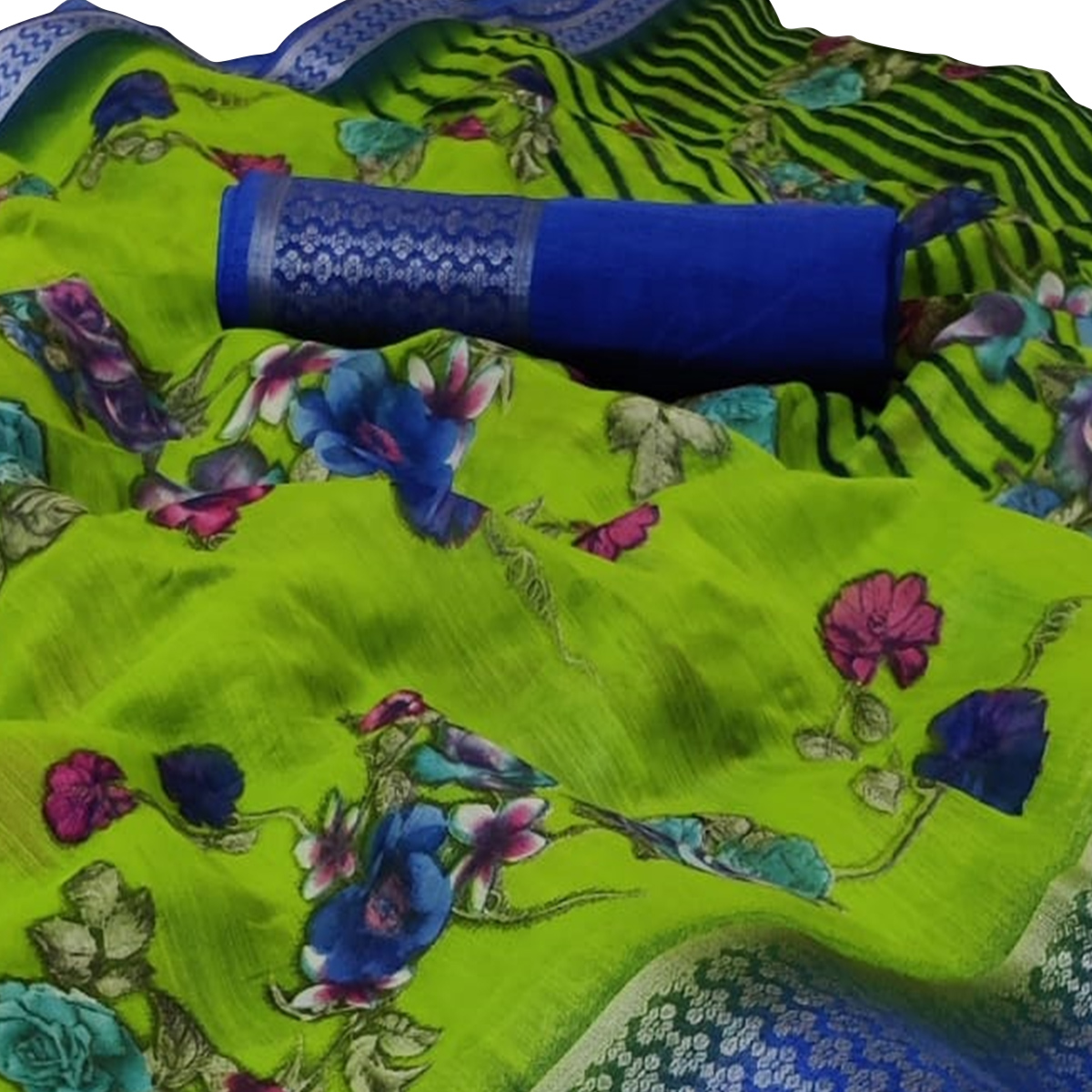 Radiant Green Colored Casual Wear Floral Printed Linen Saree